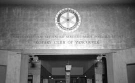 [Rotary Club inscription at entrance to the Burrard Servicemen's Centre, 636 Burrard Street]
