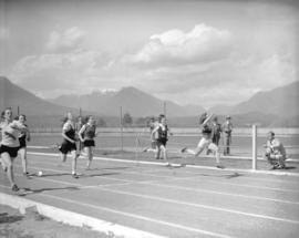 [B.H.S.] High School sports event [women's running race]