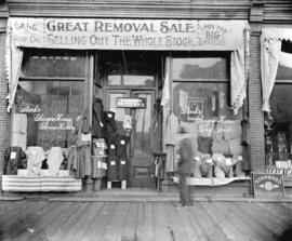 [Storefront of first Stark's Glasgow House dry goods store on Cordova Street]