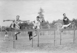 [A hurdle race at the N.P.A. All Sports at Brockton Point]