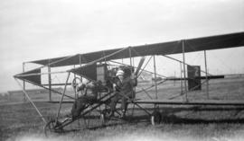 [William Stark and James Hewitt on plane at Minoru Park for first successful passenger flight in ...