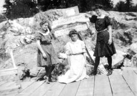Lois, Mae [Nickson] and Ruth Purdy on Caufields Dock
