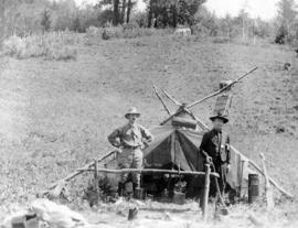John Davidson and [J.A.] Teit in camp at Botanie Valley near Skwoach Mountain
