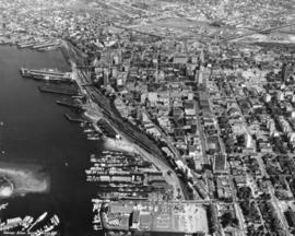 Aerial photograph of downtown Vancouver and Burrard Inlet waterfront