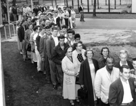 Employment line-up on P.N.E. grounds