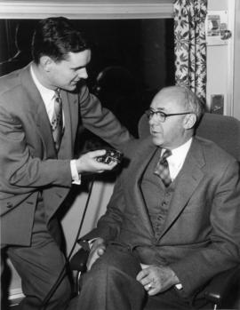 "[William Mason being interviewed during the launch of ""The Canadian""."