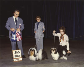 Best in Group [Terrier Group: Lhasa Apso] award being presented at 1975 P.N.E. All-Breed Dog Show