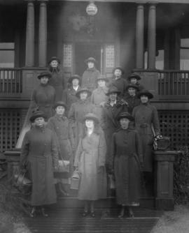 Group of women on front steps of Victorian Order of Nurses building [1250 West Broadway]