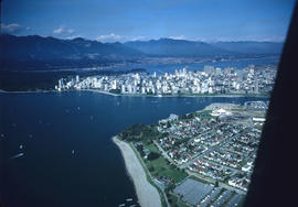 Aerial view of Vancouver showing west side of the city,  the West End peninsula and Stanley Park