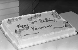 Vancouver's birthday cake at Legacies Program event at The Bay