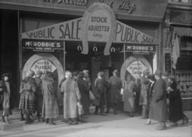 Crowd outside McRobbie's Boot Shop sale