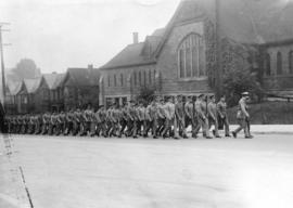 [Troops from Hong Kong march to Christ Church Cathedral for service]