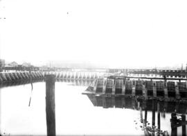 [Wharf construction on the west side of the Westminster Avenue (Main Street) bascule bridge]