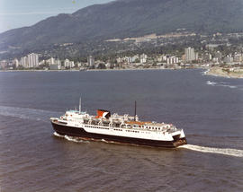 "Aerial view of CP car ferry, ""Princess of Vancouver"" with North Vancouver in background]"