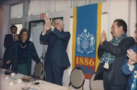 Michael Francis, Alison Reid, Patrick Reid and [Ted Allan] applauding