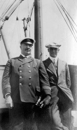[Captain and unidentified man aboard the Camosun]