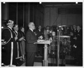 Prime Minister Louis St. Laurent speaking at the University of British Columbia
