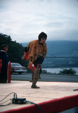 Heritage Day celebrations at Stanley Park, with First Nations child dancing on stage