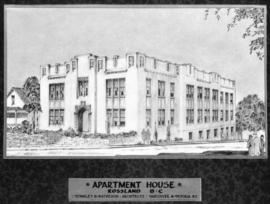 [Photograph of plans for an apartment house in Rossland B.C.]