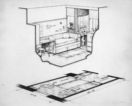 [Job no. 769 : photograph of architectural drawing for Student Nurses' Residence at Vancouve...