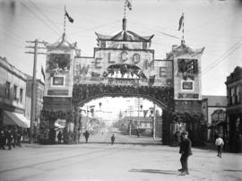 [Chinese arch at Hastings and Carrall Streets, erected for the visit of the Duke and Duchess of C...