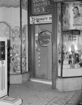 [Entrance to the Caroline Beauty Shop, 153 West Hastings]