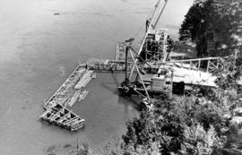 Bridge construction plant from Prospect Point.  Everything in readiness for commencing the two ca...