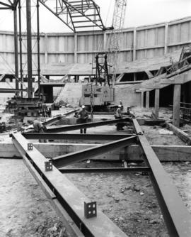 Construction of roof of Pacific Coliseum