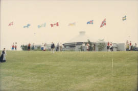 Scandinavian Festival attendees and flags at Vanier Park