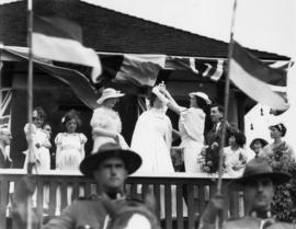Mrs. Eric W. Hamber, wife of Lieutenant-Governor, crowns South Vancouver Queen