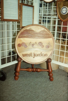 West Jordan wooden carving on display at Park Royal