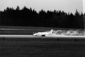 Belly-landing of small propeller plane (CF-CGJ) on runway