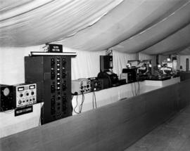 Tent display of military radio equipment