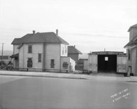 [View of boarded up house near southwest corner of Burrard and Pacific Streets, before constructi...