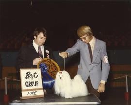 Best in Group [Toy Group: Maltese] award being presented at 1975 P.N.E. All-Breed Dog Show