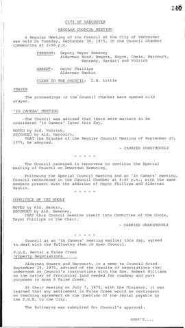 Council Meeting Minutes : Sept. 30, 1975