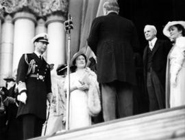 [King George VI and Queen Elizabeth on the steps of the Legislature Building]