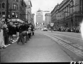 Crowd watching 1953 P.N.E. Opening Day Parade