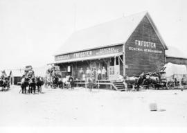 [Stage coaches on their way to the Cariboo parked around F.W. Foster's general store]