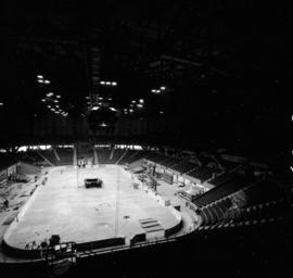 Installation of speakers and scoreboard in Pacific Coliseum