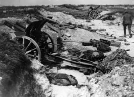 German field guns captured by the Canadians