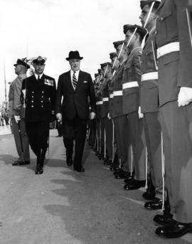 G. R. Pearkes inspecting R.C.A.F. troops at Armed Forces of Canada exhibit on P.N.E. grounds