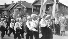 Group of Indian Sikh children in a parade
