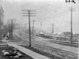 [View of the C.P.R. tracks looking west from Campbell Avenue]
