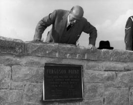 Major General A. B. Mathews inspecting the Memorial at Ferguson Point during unveiling