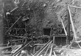 [An entrance to a tunnel at the Buntzen Lake Dam construction site]