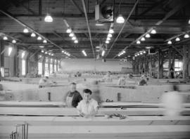 [Interior view of the Boeing aircraft plant on Georgia Street]