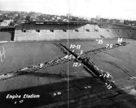 Empire Stadium : [Empire Stadium field drainage test with numbered sites]