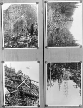 [Four scenes regarding construction of Buntzen Lake power lines]