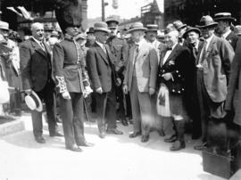 [Mayor L.D. Taylor meeting members of the Cold Stream Guards Band]